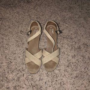 Toms desert wedge open toe sandal